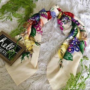 Floral silk hair scarf